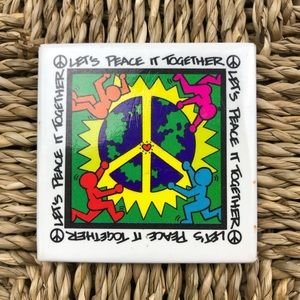 Vintage 90s Keith Haring Peace It Together Pin